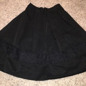 Express A-line Black Midi Skirt